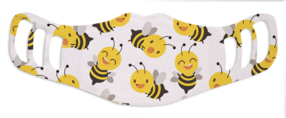A washable and reusable polyester happy bees printed cloth face mask for kids, with three ear holes by each side